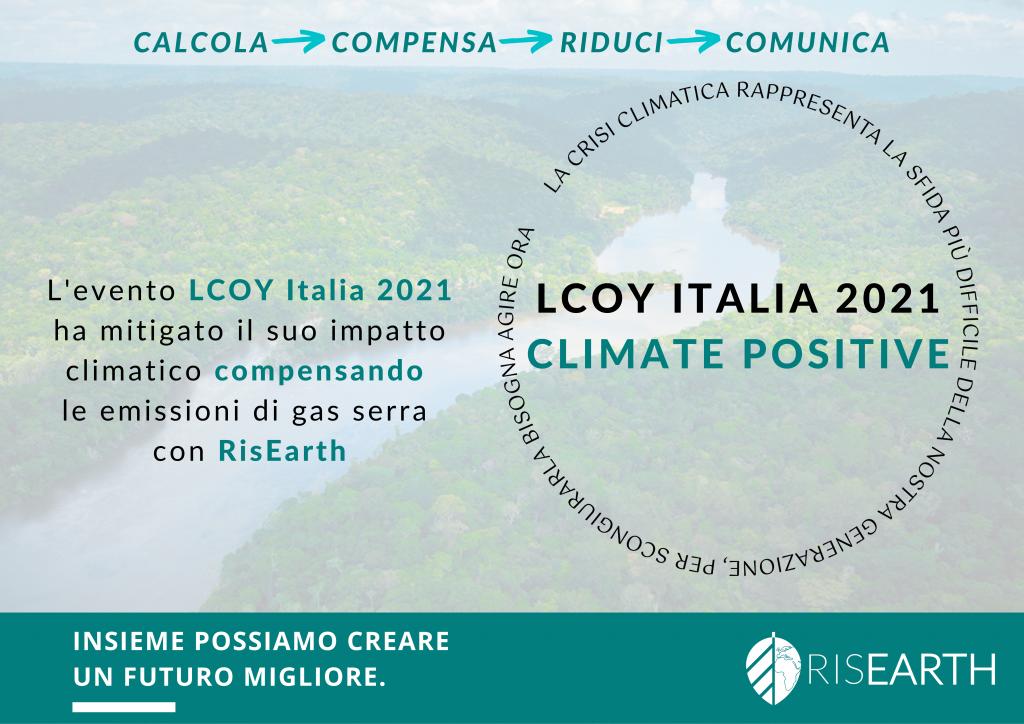 Certificato LCOY 2021 compensazione emissioni CO2 con Risearth